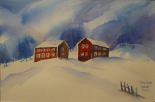 To hus i snø, Two houses in snow, 30*20cm, 1300NOK/163euro, MR